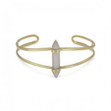 14 Karat Gold Plated Split Cuff with Spike Pencil Cut Gray Moonstone