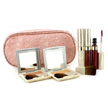 Cheek And Lip Makeup Set With Pink Cosmetic Bag 2xcheek Color 3xmode Gloss 1xbrush 1xcosmetic Bag 6pcs 1bag