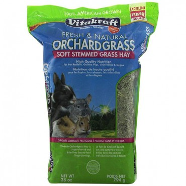 Vitakraft Fresh and Natural Orchard Grass - Soft Stemmed Grass Hay - 28 oz - 2 Pieces