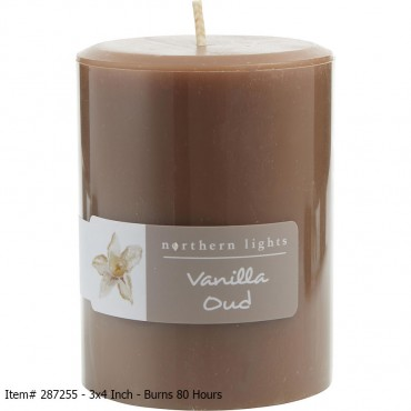 Vanilla Oud - One Pillar Candle. 3x4 Inch - Burns 80 Hours