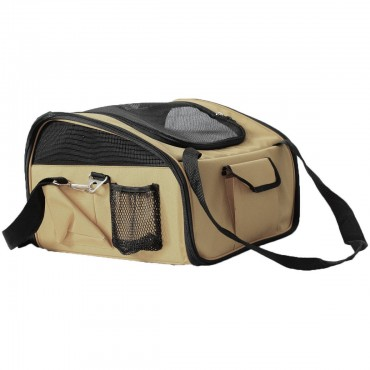 Ultra-Lock Collapsible Safety Travel Wire Folding Pet Car Seat Carrier - Khaki