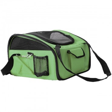 Ultra-Lock' Collapsible Safety Travel Wire Folding Pet Car Seat Carrier - Green