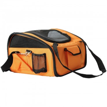 Ultra-Lock Collapsible Safety Travel Wire Folding Pet Car Seat Carrier - Orange