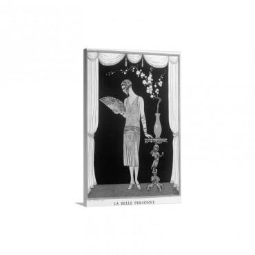 Worth Evening Dress, fashion plate from Gazette du Bon Ton, 1925 Wall Art - Canvas - Gallery Wrap