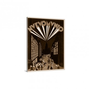Nuovo Mondo, poster advertising a Radio City style venue in Paris, c.1928 Wall Art - Canvas - Gallery Wrap
