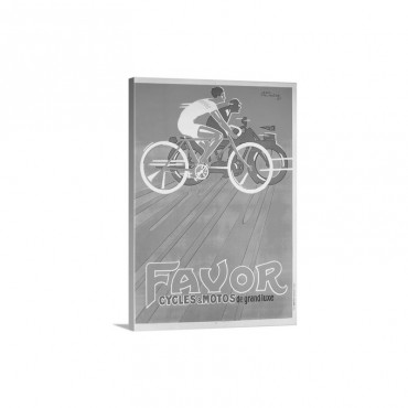 Favor Cycles And Motos French Advertising Poster Wall Art - Canvas - Gallery Wrap