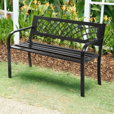 Patio Park Garden Bench Outdoor Deck Steel Frame