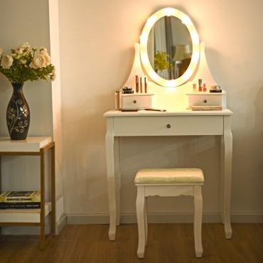 3 Drawers Lighted Mirror Vanity Makeup Dressing Table Stool Set