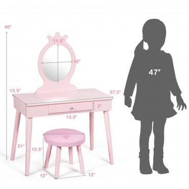 Kids Vanity Makeup Table Up Chair Set Make Up Stool