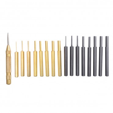 18 Pcs Brass And Steel Punch Set Solid W / Automatic Pin Center Pouch