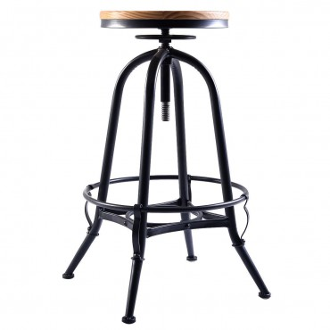 Adjustable Swivel Industrial Metal Design Vintage Bar Stool