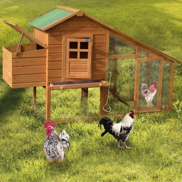 75 In. Deluxe Wooden Chicken Coop Backyard Nest Box Hen House Rabbit Wood Hutch
