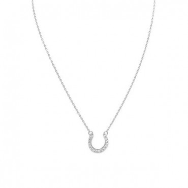 16 in. CZ Horseshoe Necklace