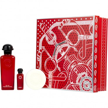 Hermes Eau De Rhubarbe Ecarlate - Eau De Cologne Spray 3.3 oz And Soap 1.7 oz And Eau De Cologne 0.25 oz Mini