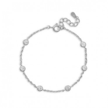 7 in. +1 in.  Extension Rhodium Plated 6 Bezel Set CZ Bracelet