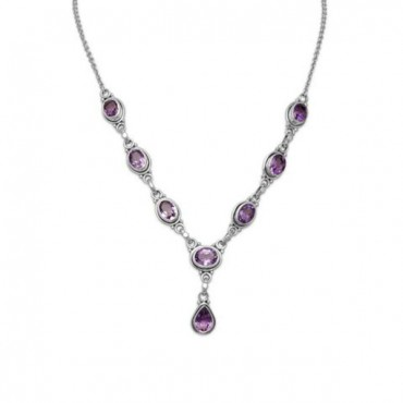 15 in. + 1 in. Extension Oval and Pear Shape Amethyst Necklace