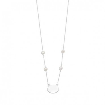 16 in. ID Tag Necklace with White Cultured Freshwater Pearls
