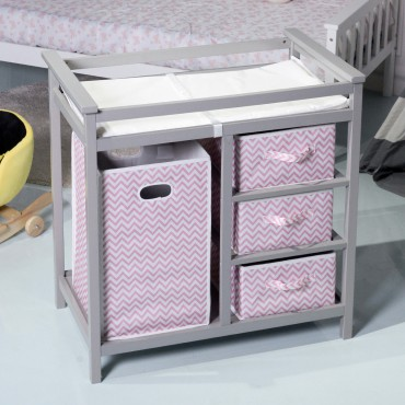 2 Colors Infant Diaper Storage Changing Table W / 3 Baskets