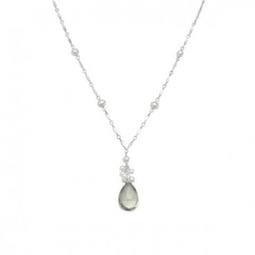 16 in. + 2 in. Extension Prasiolite and Cultured Freshwater Pearl Necklace