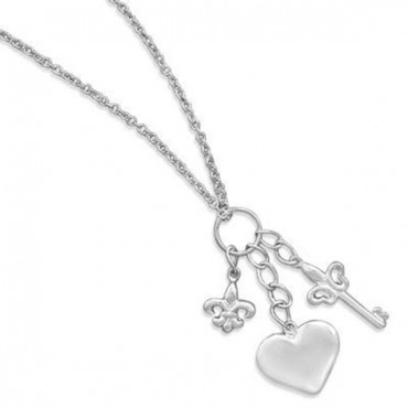 16 in. Rhodium Plated Necklace with Multicharm Drop