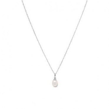 18 in. Rhodium Plated Cultured Freshwater Pearl Drop Necklace
