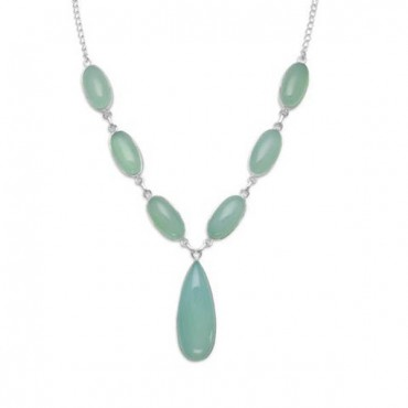 17.5 in. Green Chalcedony Necklace