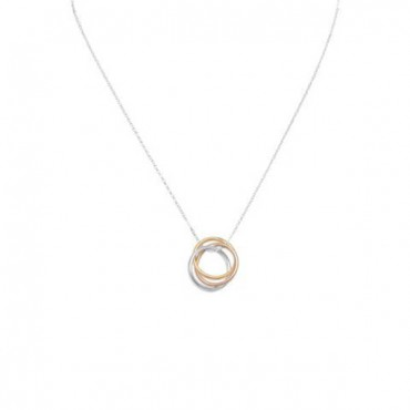 16 in. Necklace with Tri Tone Rings