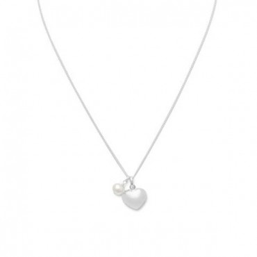 16 in. Multicharm Heart & Cultured Freshwater Pearl Necklace