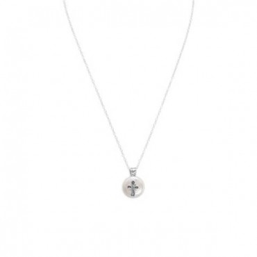 17.5 in. Cultured Freshwater Pearl with Cross Design Necklace