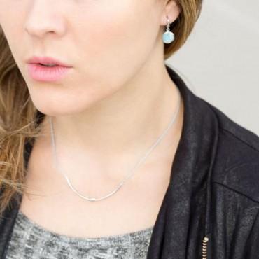Rhodium Plated Larimar Drop Earrings