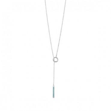 Rhodium Plated Nano Turquoise CZ Drop Lariat Necklace
