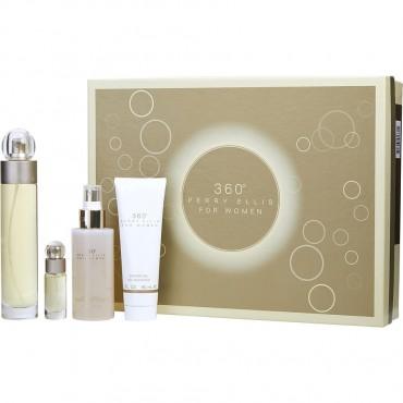 Perry Ellis 360 - Eau De Toilette Spray 3.4 oz And Body Mist 4 oz And Shower Gel 3 oz And Eau De Toilette Spray 0.25 oz Mini