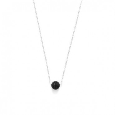16 in. + 2 in. Floating Black Onyx Bead Necklace