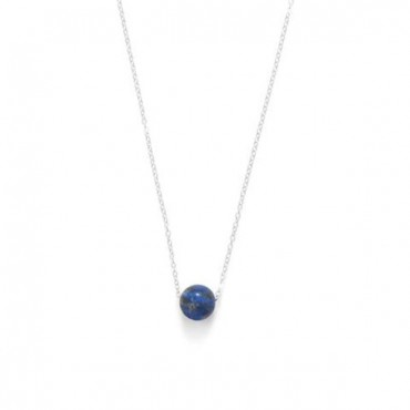 16 in. + 2 in. Floating Lapis Bead Necklace