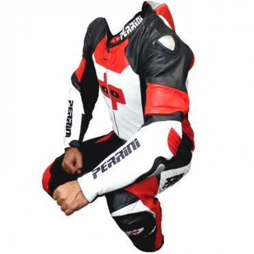 Perrini 1 Piece Red White & Black Genuine Cow Hide Leather Motorbike Riding Motorcycle Racing Suit