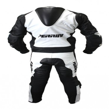 1 Piece Perrini White and Black Genuine Cow Leather Motorbike Riding Motorcycle Racing Suit