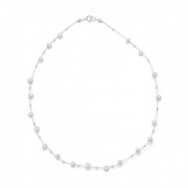 16 in. Double Strand Cultured Freshwater Pearl Necklace