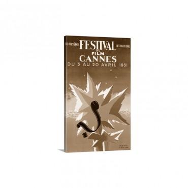 International Film Festival, Cannes, 1951,Vintage Poster - Canvas - Gallery Wrap