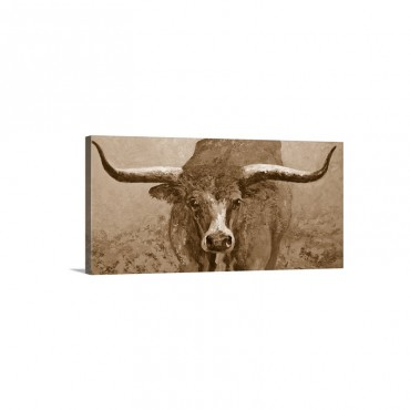 Wide Spread Texas Longhorn Wall Art - Canvas - Gallery Wrap
