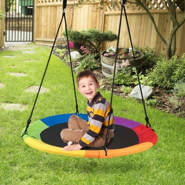 40 In. Flying Saucer Tree Swing Outdoor Play For Kids
