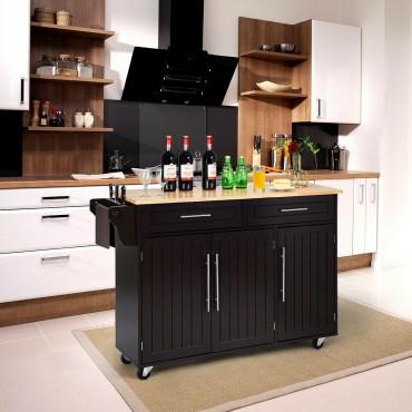 Kitchen Island Trolley Cart Wood Top Rolling Storage Cabinet