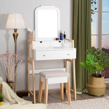 Makeup Vanity Table Dressing Table And Cushioned Stool Set