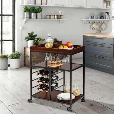 3 Tier Storage Bar Serving Cart With Wine Rack And Glass Holder