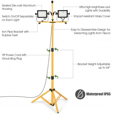 60W 6000 lm LED Work Light With Metal Tripod Stand