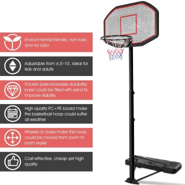 43 In. Indoor/Outdoor Height Adjustable Basketball Hoop