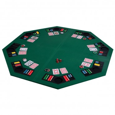 48 In. 8 Players Octagon Fourfold Poker Table Top