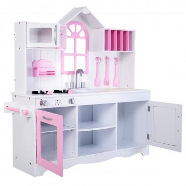 Wood Toy Kitchen Kids Cooking Pretend Play Set