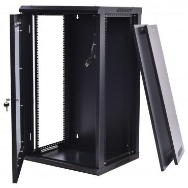 15U Wall Mount Network Server Data Cabinet W / Fan