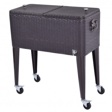 80QT Outdoor Party Portable Rattan Rolling Cooler Cart