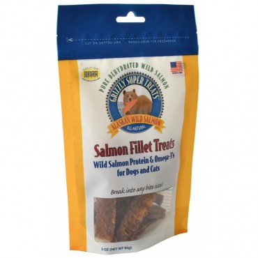 Grizzly Super Treats Salmon Fillet Treats for Dogs and Cats - 3 oz